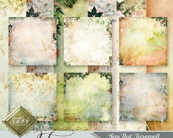 CU Commercial Use Background Papers set of 6 for Digital Scrapbooking or Craft, Say Not Farewell Art Papers, Designer Stock Papers