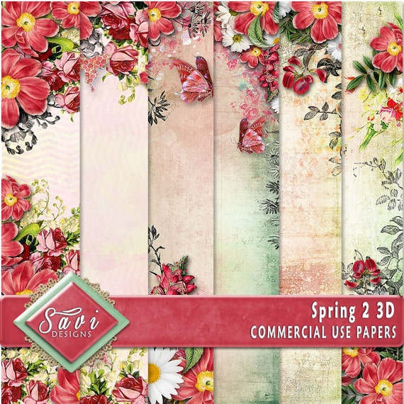 CU Commercial Use Background Papers set of 6 for Digital Scrapbooking or Craft projects SPRING 2, 3D Papers, Designer Stock Papers