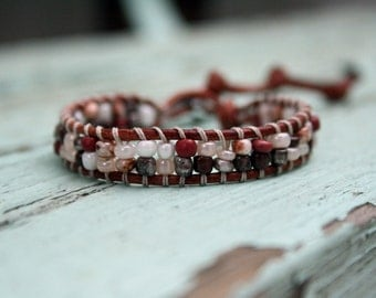 Beaded Leather Single Wrap Bracelet with Czech Beads