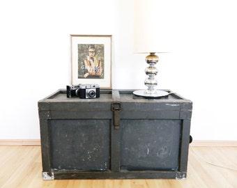 Antique box chest vintage table, wooden box