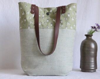 Shoulder bag with leather handles, cloth bag, shopper, lime green