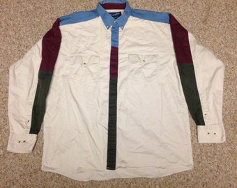 Vintage Wrangler Color Block Button Up Western Shirt size Large