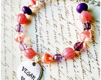 Vegan Jewelry Veganism Bracelet Czech fire polished beads Hand stamped Animal lover