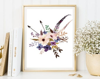 Watercolor digital painting print flowers feather arrows blue purple watercolor wall art print printable floral watercolor poster home decor