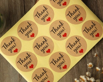 40 Round Kraft Thank You Stickers Seal Labels With Red Heart