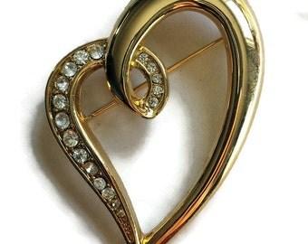 Vintage Heart Brooch, CZ Sweetheart Pin, Gold Tone Heart Pin