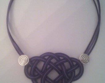 Necklace leather Celtic knot Crescent and tree of life