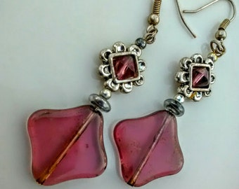 Burgundy Matte Glass Earrings