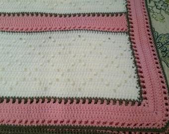 White, pink & gray baby blanket