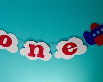 Airplane 1st Birthday Banner