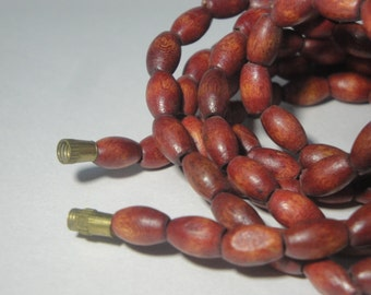 Red Wooden Bead Mala, Necklace , Inidian Red wooden bead Mala