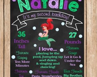 Ariel Birthday Chalkboard