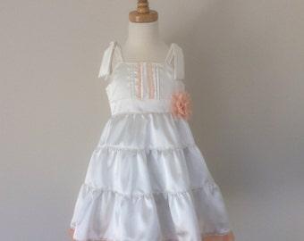 Girls Tiered Dress - Size 3, Girls Christmas Dress, Girls White Satin Dress, Girls Party Dress, Girls Flower Girl Dress, READY TO  SHIP