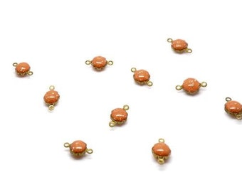 10 connectors round 11mm brass coral email gross