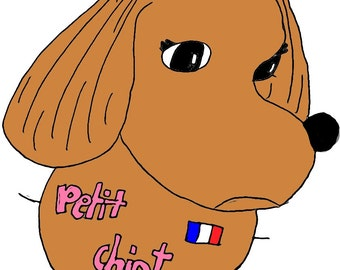 "Preorder *** Sticker ""Petit Chiot"" 3""X3"""