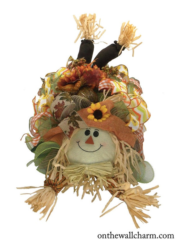 Scarecrow centerpiece fall deco mesh by