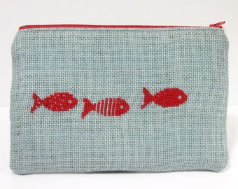 Red fish hand embroidered purse, cross stitch cosmetic bag, makeup bag, blue pouch, burlap bag, pencil case, gift for women
