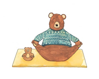Yoga Bear, Children's print, woodland nursery