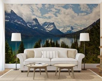Mountain Lake MURAL, self adhesive peel and stick 3d wall mural, wallpaper, wall sticker