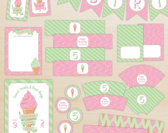Ice Cream Party Decorations, Ice Cream Party Package, Girl Birthday Party - Pink and Green - Personalized, Printable