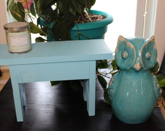 Hand Crafted Small Wood BENCH Amazing Cool Blue Color Wooden Bench Stool Decor Pine
