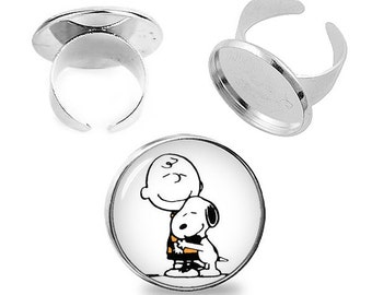 Snoopy and Charlie Brown Ring Snoopy Adjustable ring Snoopy Jewelry Fanboy Fangirl