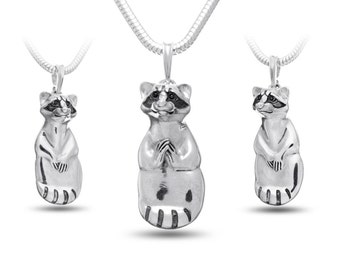 Raccoon Jewelry, Raccoon pendant, Raccoon necklace - sterling silver