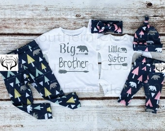 Big Brother Little Sister Outfits, Baby Girl Coming Home Outfit Set,Country Outfits,Brother Sister Shirts,Pink,Gray, Arrows,Teepees, Bears
