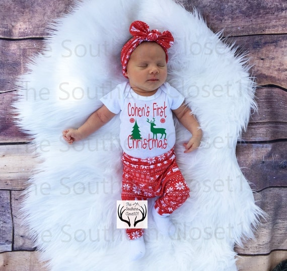 Unisex Christmas Outfit,Custom Names First Christmas,Baby, Girl Coming home outfit,Boy Coming Home Outfit,Bears,Trees,Deer,Red and White