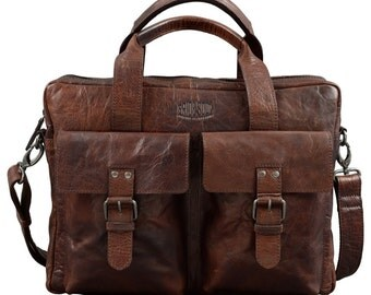 Laptop bag laptop bag real me 15 inch vintage retro style brown leather