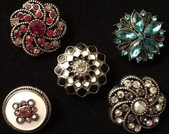 Setof Five Pretty New Interchangeable Snaps for All your 18mm and 20mm Snap Jewelry