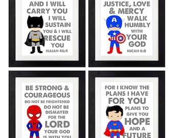 Superhero Scripture Printables < Superhero Scripture Art < Joshua 1:9 < Seek Justice, Love, Mercy < Be Strong and Courageous < Set of 4