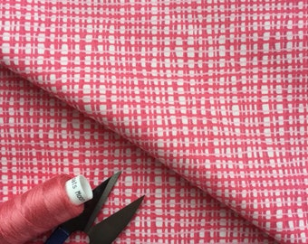 Abstract Pink Checked Cotton Fabric