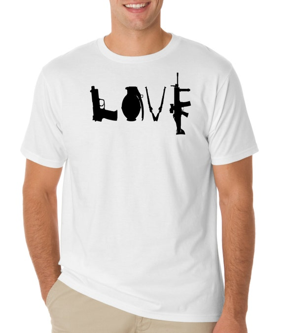 Gun Love Logo T Shirt Pistol Rifle 2nd Amendment American
