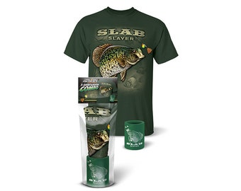 """Follow the Action®  Crappie """"Slab Slayer"""" T-Shirt and Koozie® Combo Gift Set"""