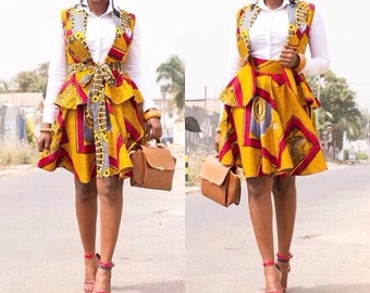 Ankara Flared Skirt with Jacket, African Print Flare Skirt