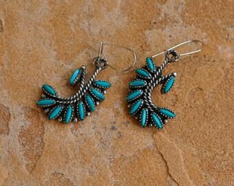 "ON SALE : Native American ""Sancrest""  Faux Turquoise Earrings"