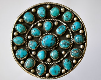 Vintage  Native American Silver & Turquoise Cluster Pendant/Brooch Signed by Marcelina Valencia NM