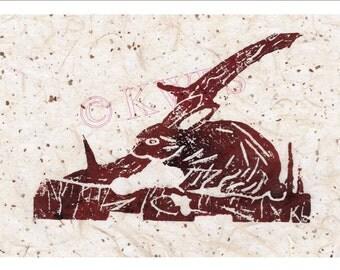 Original mounted lino print of Rabbit