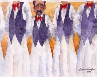 2005 Tall and Short Waiters watercolor print from original, done by seller, signed