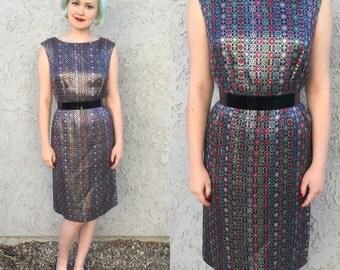 1960's Rainbow Tapestry Silk Brocade Wiggle Dress / Medium