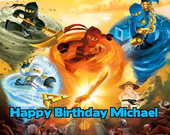 NINJAGO 1/4 Edible Frosting Icing Sheet Cake Topper Image Customized Personalized Birthday 1st Party Custom Decoration