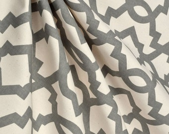 Gray Tan Natural Curtain Panels Quatrefoil Geometric Moroccan Curtains  Living Room Dining Room Drapery Panels Custom