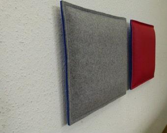 Wall cushions in felt/felt & leather/felt combination custom - size 35 x 35 cm in 24 colours