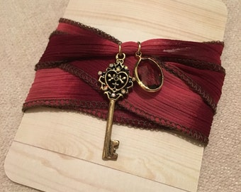 Key & Charm Pendant Wrap Bracelet