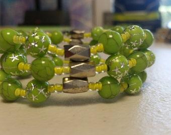 Green and Silver Hematite Bracelet