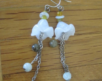 Jade Flower Bell Earrings