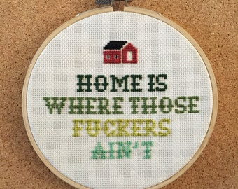 Home Is Cross Stitch in frame - 5''