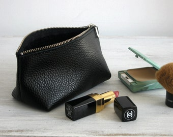 LEATHER POUCH - Pouch Bag - Black Leather CLUTCH - Leather Toiletry Bag - Leather Purse - Leather Makeup Bag - Cosmetic Bag