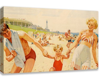 VINTAGE BRITISH BLACKPOOL Seaside Canvas Wall Art